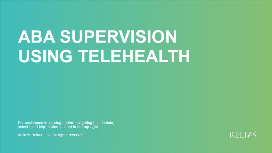 ABA Supervision Using Telehealth