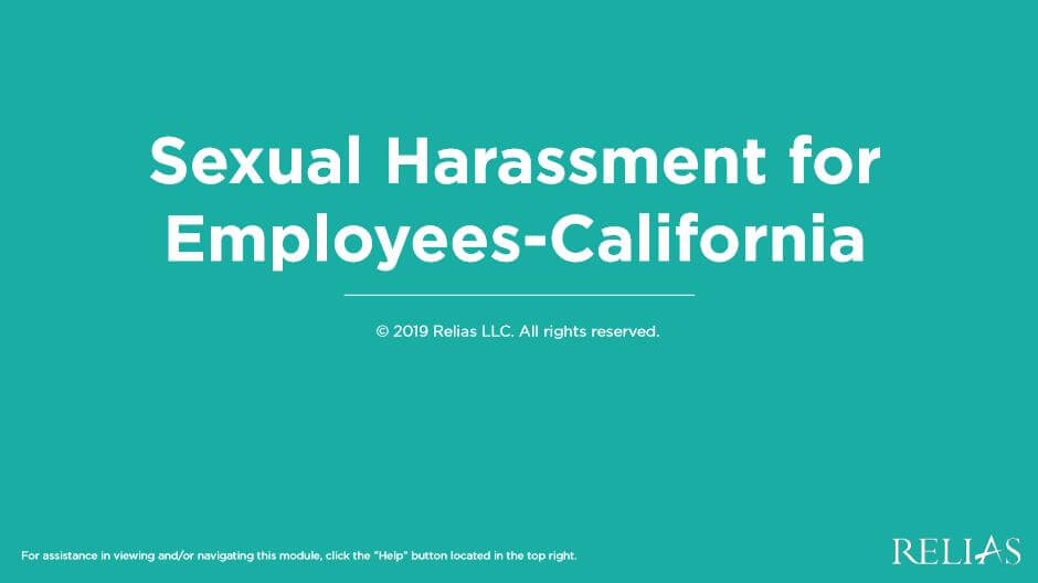 Sexual Harassment for Employees-California