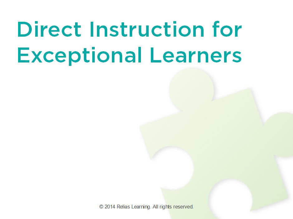Direct Instruction For Exceptional Learners Relias Academy
