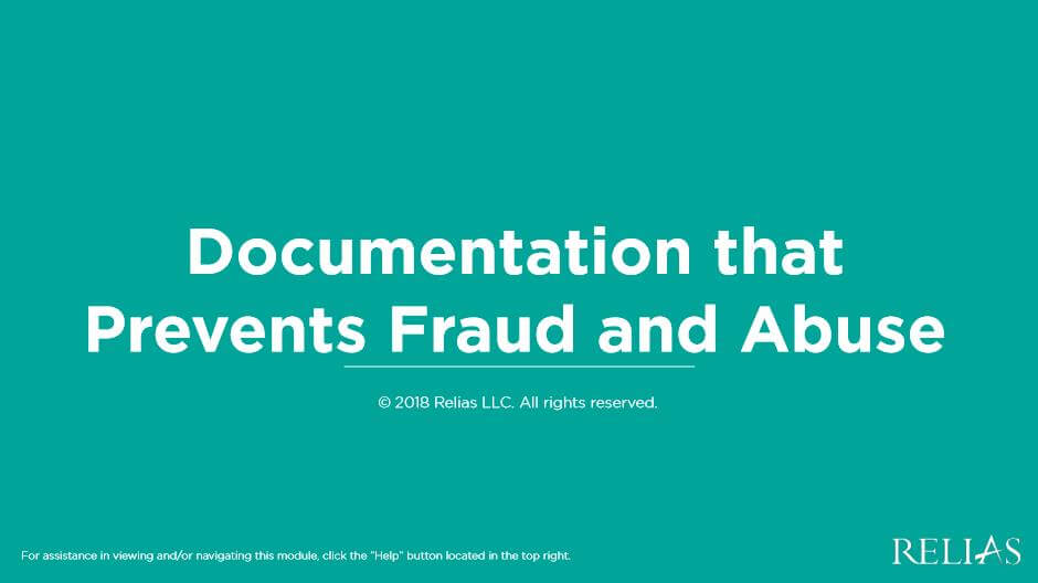 Documentation that Prevents Fraud and Abuse