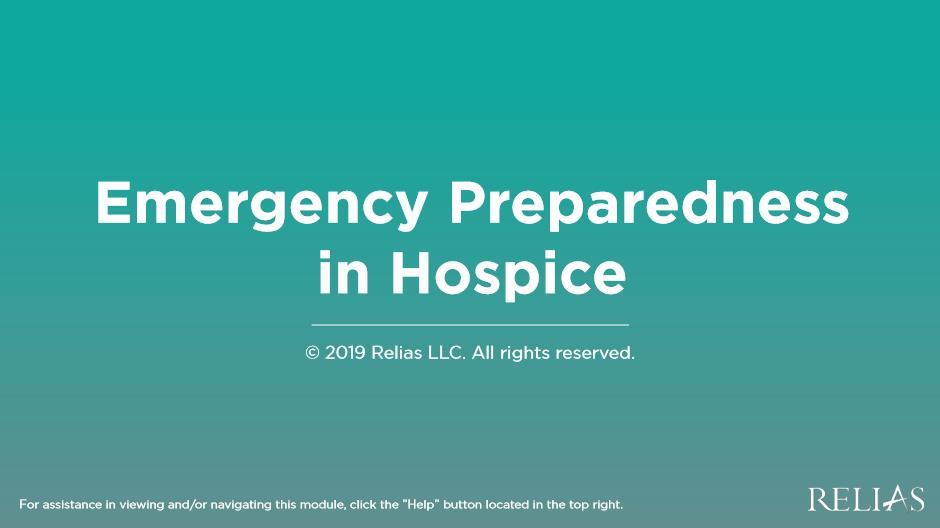 Emergency Preparedness in Hospice