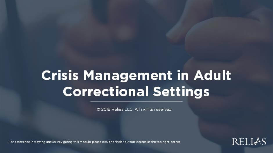 Crisis Management in Adult Correctional Settings