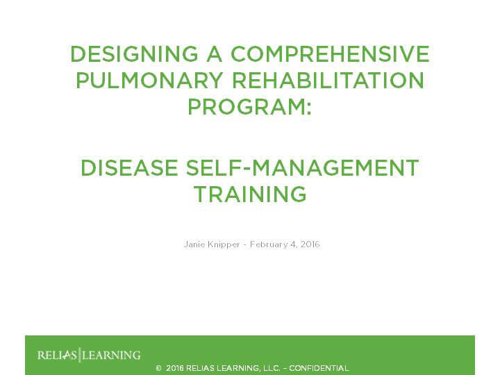 Pulmonary Disease Self-Management Training - Part 4