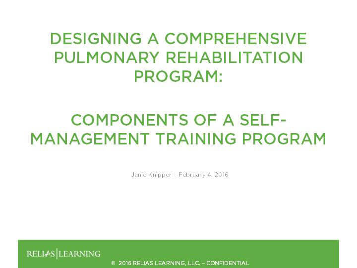 Components of a Self-Management Training Program for Persons with Pulmonary Disease - Part 5