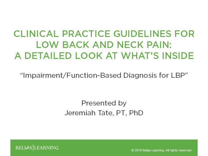 Impairment-Function Based Diagnosis of Low Back Pain