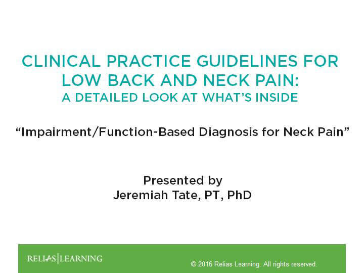 Impairment/Function-Based Diagnosis for Neck Pain